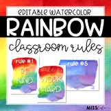 Rainbow Watercolor Classroom Rules {Editable}