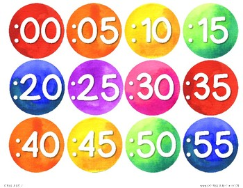 Rainbow Watercolor Clock Labels
