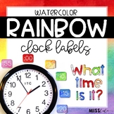 Rainbow Watercolor Clock Labels
