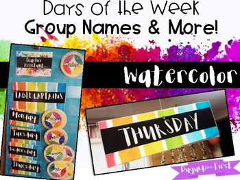 Rainbow Watercolor Decor ~ Days of the Week Group / Table Names