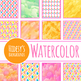 Rainbow Watercolor Diamonds Backgrounds / Digital Papers Clip Art Commercial Use