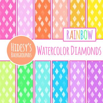 Rainbow Watercolor Diamonds Backgrounds / Digital Papers Clip Art Set