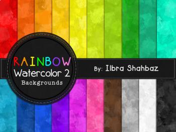 Rainbow Watercolor Digital Paper Backgrounds