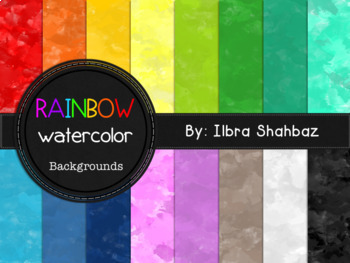 Rainbow Watercolor Digital Paper Backgrounds