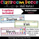 Rainbow Watercolor EDITABLE Nametags Classroom Decor