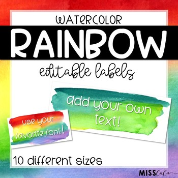 Rainbow Watercolor Labels {Editable}