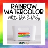 Rainbow Watercolor Labels {Editable}
