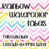 Rainbow Watercolor Labels- Fully Editable!