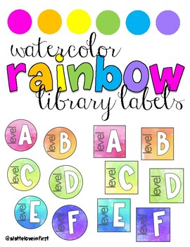Rainbow Watercolor Leveled Library Labels