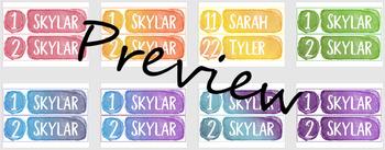 Rainbow Watercolor Name Tags - Desk Name Plates - Editable
