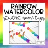 Rainbow Watercolor Name Tags {Editable}