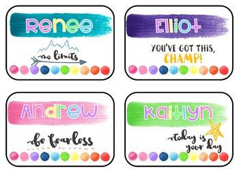 Rainbow Watercolor Name Tags - Editable