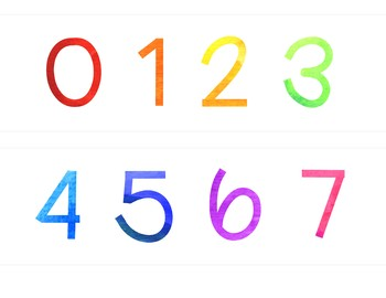 Rainbow Watercolor Number Line