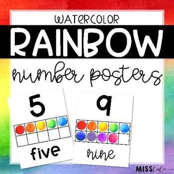 Rainbow Watercolor Number Posters