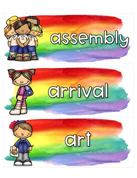 Rainbow Watercolor Schedule Cards {Editable}