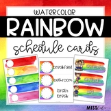 Rainbow Watercolor Schedule Cards {Editable}