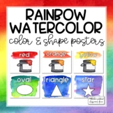 Rainbow Watercolor Shape and Color Posters