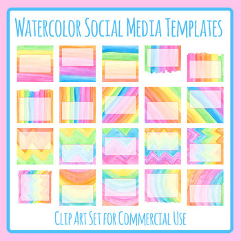 Rainbow Watercolor Social Media Templates Clip Art Set for Commercial use
