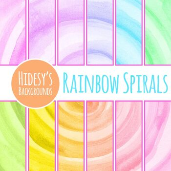 Rainbow Watercolor Spirals Clip Art Set Commercial Use