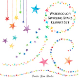 Rainbow Watercolor Star Clip Art