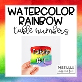 Rainbow Watercolor Table Numbers Classroom Decor