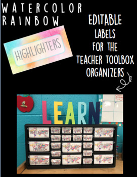 Rainbow Watercolor Teacher Toolbox Organizer Labels (editable)