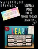Rainbow Watercolor Teacher Toolbox Organizer Labels (editable)