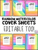 Rainbow Watercolor Themed Folder Cover Sheets - Editable