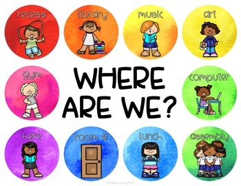 Rainbow Watercolor Where Are We? Door Sign