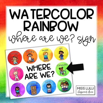 Rainbow Watercolor Where Are We? Door Sign