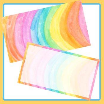 Rainbow Watercolor Widescreen Power Point / Powerpoint Template Clip Art Set