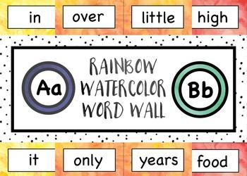 Rainbow Watercolor Word Wall