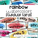 Rainbow Watercolors Schedule Cards