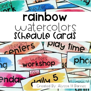 Rainbow Watercolors Schedule Cards
