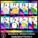Rainbow Watercolour / Watercolor Alphabet Posters