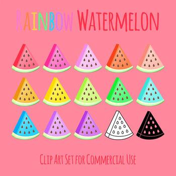 Rainbow Watermelon Clip Art Set for Commercial Use