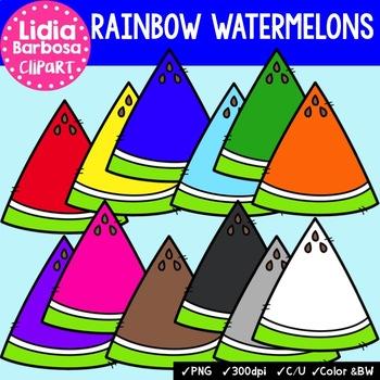 Rainbow Watermelons- Digital Clipart