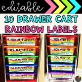 Rainbow Wave Labels - 10 Drawer Cart