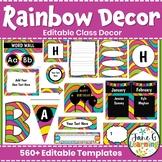 Rainbow Wave Editable Classroom Decor Pack   Back to School   Bright Colors