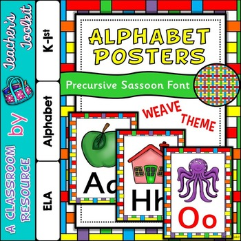 Rainbow Weave Themed Alphabet Posters Frieze {UK Teaching