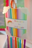 Classroom Decor Rainbow Welcome Sign and Papers