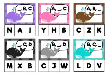 Rainbow Whales: Alphabet Sequencing (capitals)
