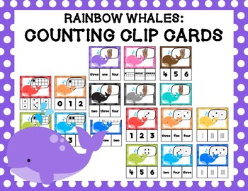 Rainbow Whales: Counting Clip Cards
