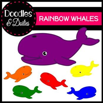 Rainbow Whales {Doodles and Doilies Clipart}