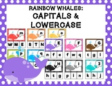 Rainbow Whales: Matching Capital & Lowercase Letter Clip Cards