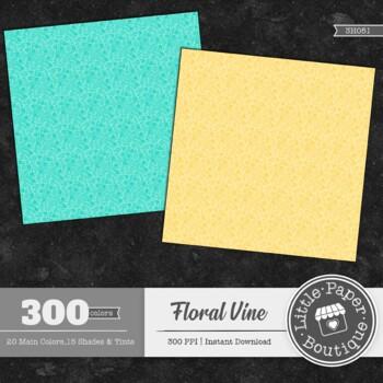 Rainbow White Floral Vine Digital Paper 300 Sheets 3h051 Tpt