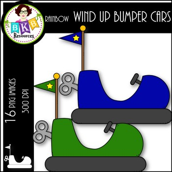 Rainbow Wind Up Bumper Cars ● Bumper Car Clipart ● Clipart for Commercial Use