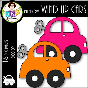 Rainbow Wind Up Cars ● Car Clipart ● Clipart for Commercial Use
