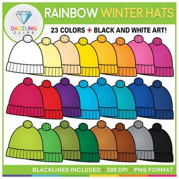 Rainbow Winter Hats Clip Art