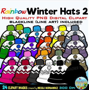 Rainbow Winter Hats Clip Art (Snowflakes) for Personal and Commercial Use